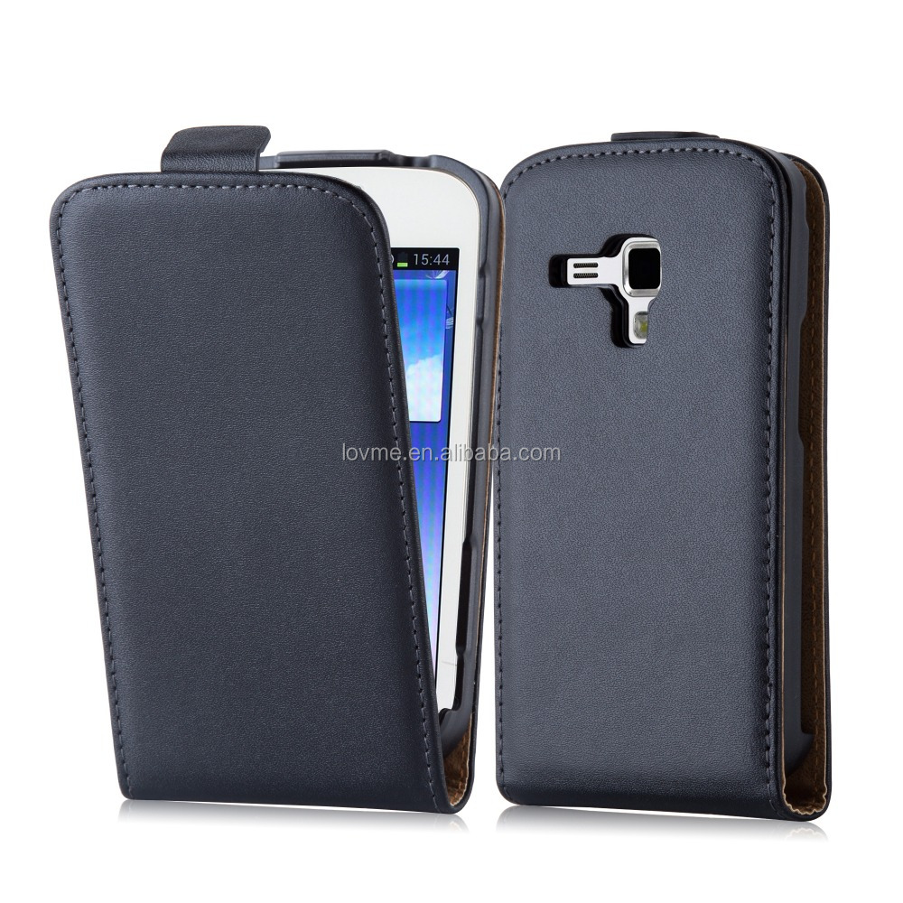 Durable Genuine Real Flip Leather Case Wallet Cover for Samsung Galaxy Trend DUOS S7562