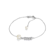 JewelryPalace Round Freshwater Cultured Pearl Link Strand Beads Bracelet 925 Sterling Silver Jewelry for Women