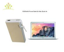 2016 New Design Universal Mini Portable Aluminium Fast Charge Power Bank Charger 15600mah in Silver Gold for MAC BOOK air pro
