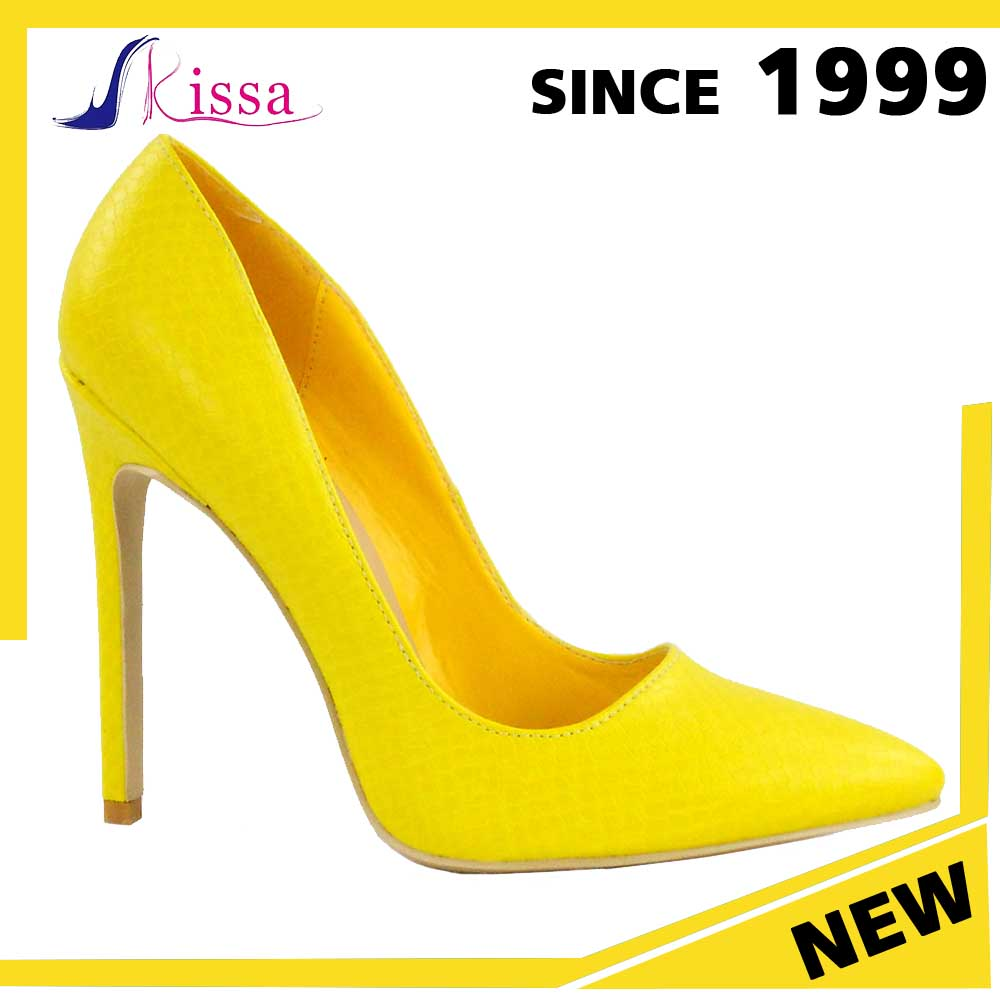 2016 elegant yellow snake skin style rubber outsole women stiletto sexy high heel shoes dress ladies