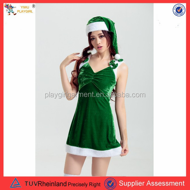 PGWC1718 New arrival green winter dress fashion fat women sexy christmas costume xxxxl fancy dress