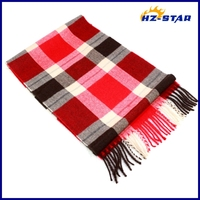 HZW-13309002 fashion unisex red and balck checked new design shawls and scarves pashmina