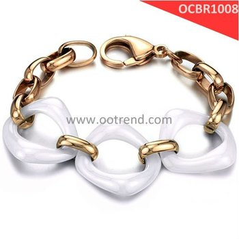 New Style best seller women ceramic bracelets, with s.steel PVD rose gode inlaid