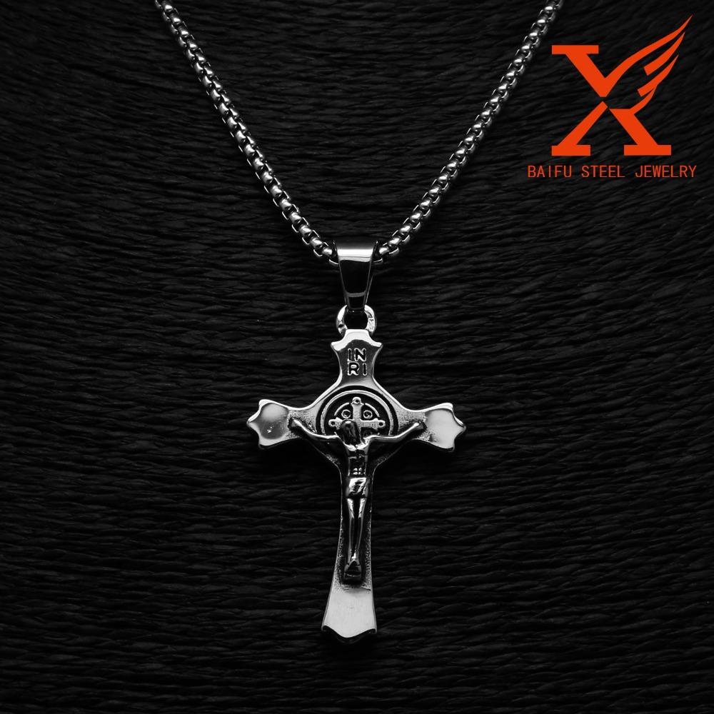 Stainless Steel Casting Silver 3D Jesus Cross Pendant
