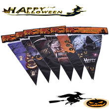 Halloween Hanging Flags Decorations Pumpkin Pennant Witch Festive Decoration Small Bunting String Banner 10 Styles