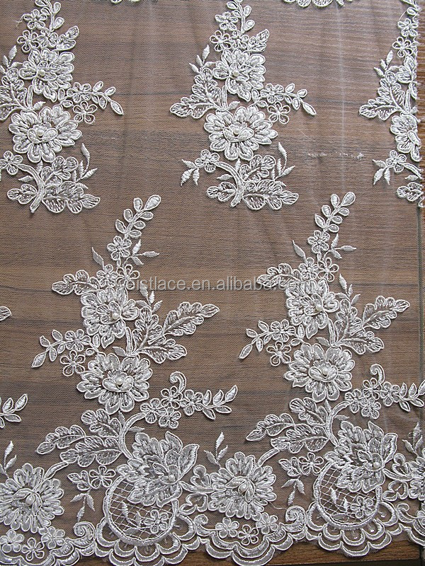 Polyester/ Cotton Guipure Organza Embroidery Lace Fabric / Embroidered Fabric Lace Handmade bridal sequin beaded embroidery lace