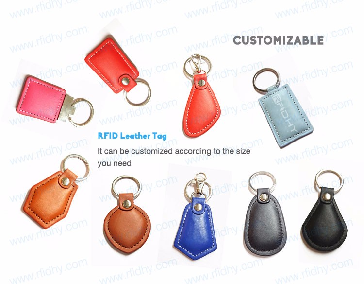 TK4100/ T5577/ EM4200 RFID Leather Key Tag/ Keyfob with Metal Chain Factory Price