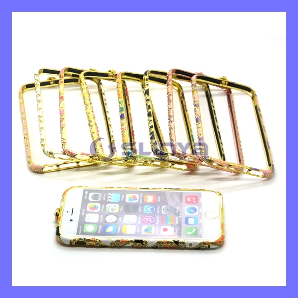 Crystal Engrave Diamond Rhinestone Frame Bling Metal Flower Bumper for iPhone 6 5 6 Plus