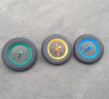 "solid rubber powder wb6400 14""x3.5"" model wheel with solid axle good quality spoke rim"