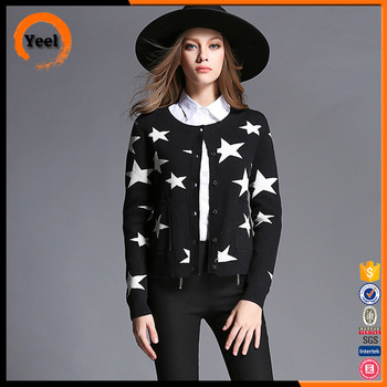 Women fashion custom round neck casual knitted cardigan sweater for women