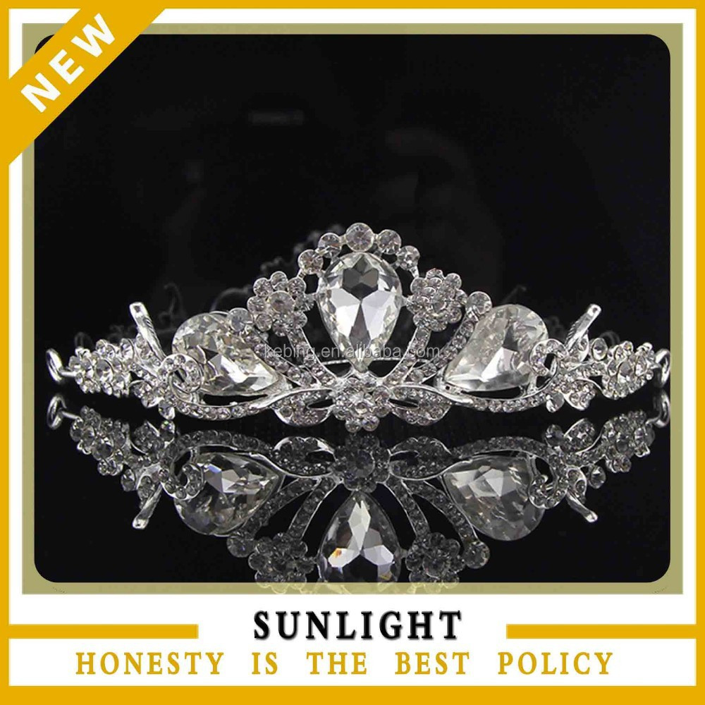 Latest Crystal Pageant Tiara crown with comb