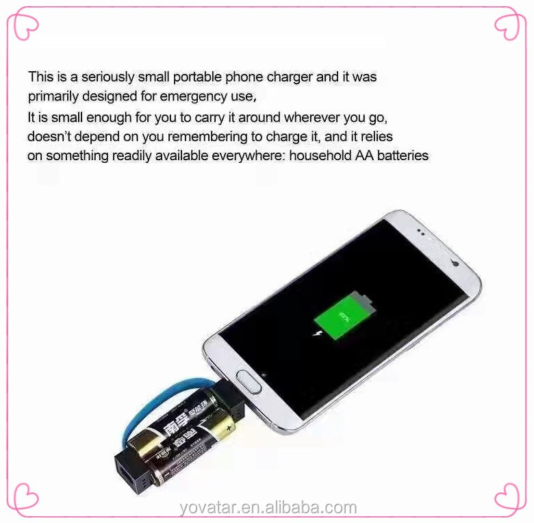 Emergency Mobile Phone Charger with AA Battery, Suitable for samsung and Iphone Outdoor Emergencies