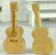Customized Wooden Guitar Natural USB 2.0 Memory Flash Drive