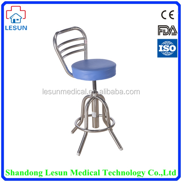 High quality height adjustable medical hospital stainless steel round stool with back