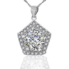 Sterling Silver Cubic Zirconia Pentagon Shape Pendant Necklace