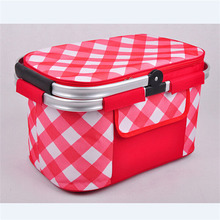 foldable polka dot rubber backed picnic fabric cooler basket