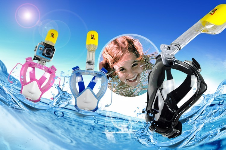 Silicon face padding quick drainage valves 180 degree full face mask diving snorkel set