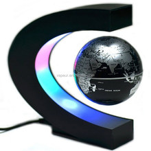"Popular 3"" funny C shape Magnetic levitation globe with colored LED light globe world map for kids education"