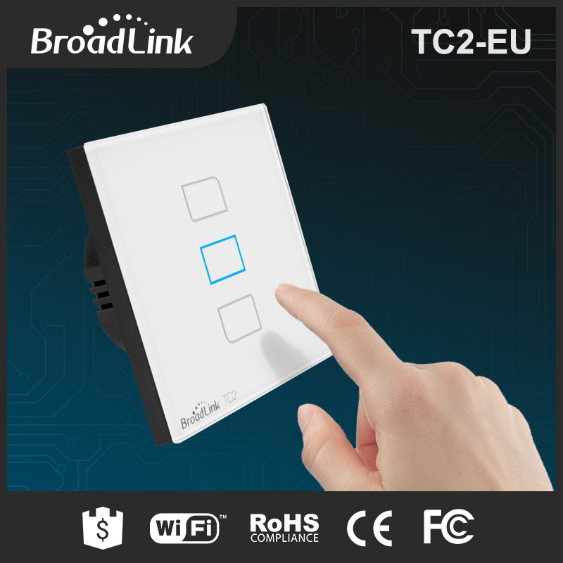 BroadLink TC2 EU standard crystal glass panel LED touch light switch cover