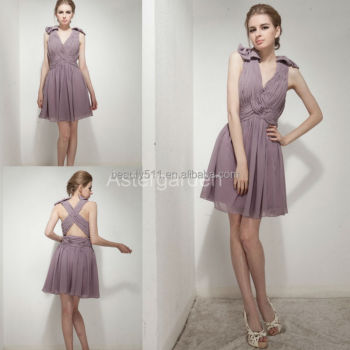 A-line v-nick short/mini pleated chiffon evening dress with flower mini short party dress