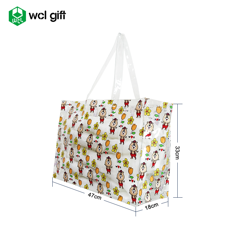 Customer giveaways ladies handbags wholesale PVC tote bag custom printed vinyl clear PVC tote bag