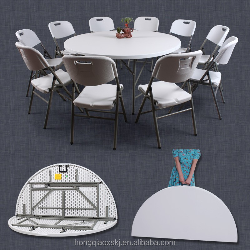 5ft round folding in half table/152cm plastic foldable round banquet table/outdoor portable cheap small round dinning table