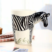 Christmas gifts 3D pure hand draw cartoon animals ceramic cup mugs with gift box wholesale