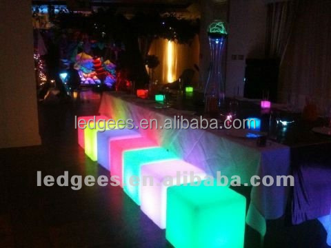 RGB led furniture cube Water proof PE material RGB 50*50*50cm plastic bar chairs sale