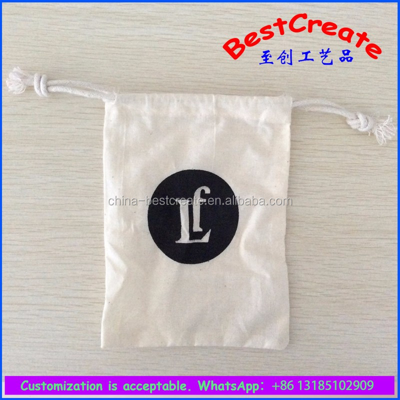 Custom made cotton canvas drawstring Wedding invitation pouch for Event invitation bag
