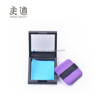 Meidao Hot sale custom facial cleaning tissue cosmetic make up oil blotting paper with pu puff