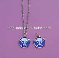 metal hockey pendant charms, sport team logo necklace