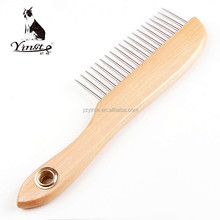 High quality metal head wooden handle flat pet grooming comb