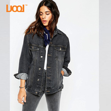China Factory Custom High Quality Long Sleeve Metal Button Two Pockets Fashion Slim Fit Denim Jackets Women 2016 Winter
