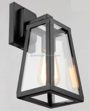 Industrial Style Matte Black metal and glass wall Light lamp small hotel passage outdoor Lighting Fixtures