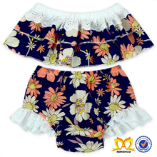 2017 Summer Daisy Navy Ruffle Top And Bloomer Clothes For Baby Girls Little Girl Outfits