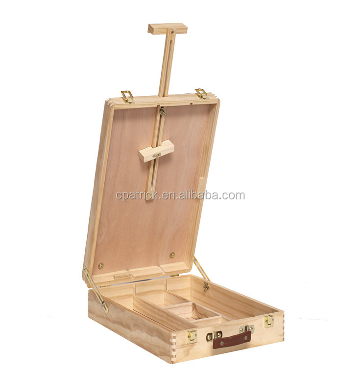 Wholesales Beech wood Round Corner Big Table Top sketching easel box with handle
