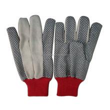 Construction use natural cotton with rubber dotted gloves
