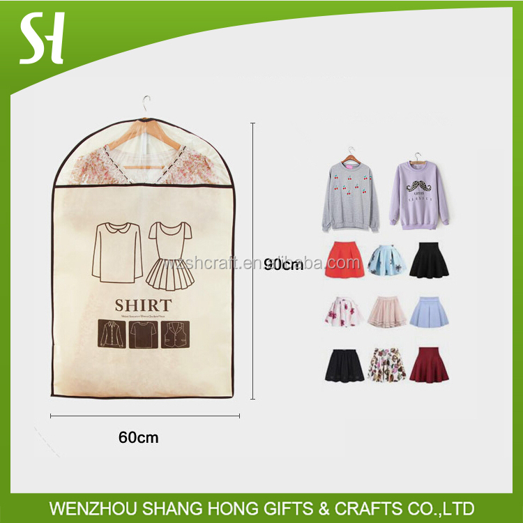 non woven and plastic material wedding dress cover bag/suit cover bag for family