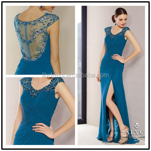 Side Slit blue Cap Sleeve Custom Made Floor Length Long Evening Party Wear MD024 mother of the bride tropical dresses