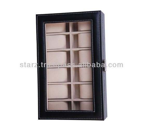 12 Slot Watch Box with Glass Screen Display