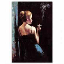 Abstract beautiful modern smoking woman body oil painting nude woman back