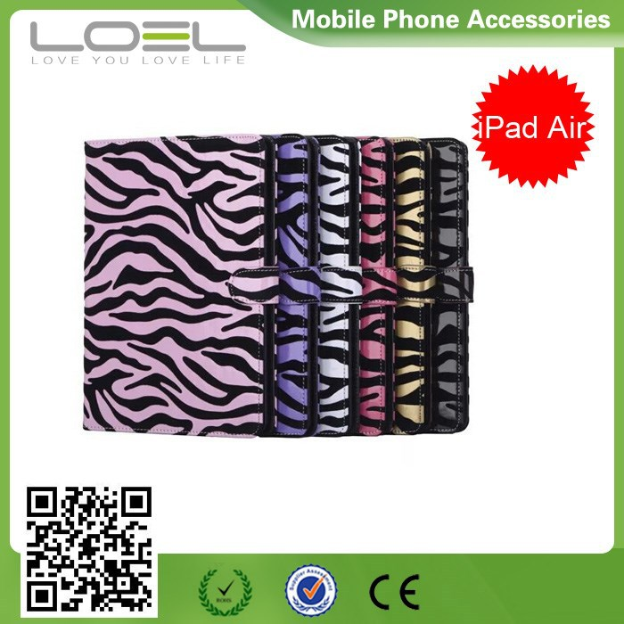 Stylish Zebra Design For iPad Air 2 Stand Flip Leather Case With Card Sots&Photo Frame