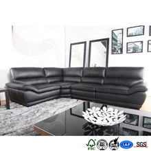 Italian genuine leather lobby design wooden cushion sofa set