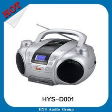 Portable bluetooth fm radio cd player usb boombox with aux input