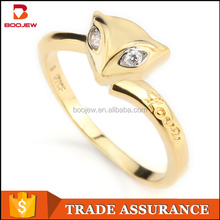 Wholesale fashion sterling silver jewelry fox shape design gold plated animal rings jewelry