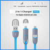Hottest Colorful Micro USB Cable 2 in 1 Sync Data Charging Cable for iphone 5/6/6s/6plus and android