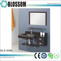 Glass bathroom washing basin sink with mirror cabinet