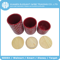 Best Selling red round ceramic seal jar with wood lid