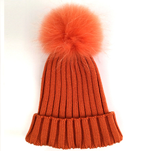 Myfur Fashion Color Orange Raccoon Fur Pompoms Ribbed Knitted Hat and Cap