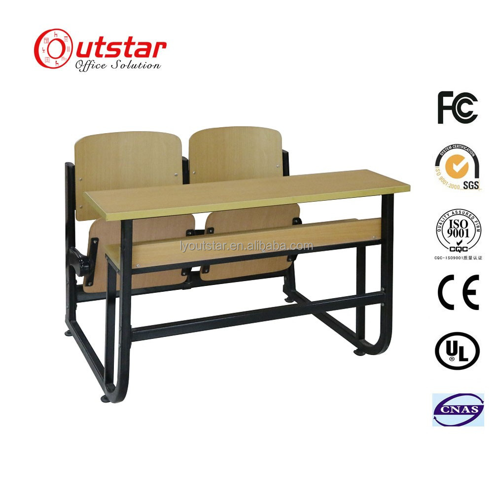 Luoyang cheap MDF school primary school furniture double table with bench